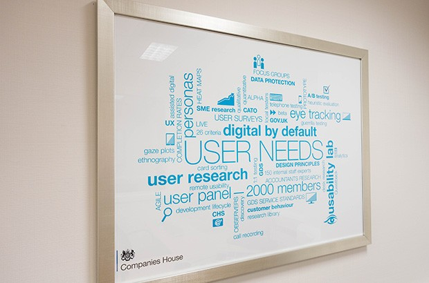 Framed list of words associated with user needs and user research