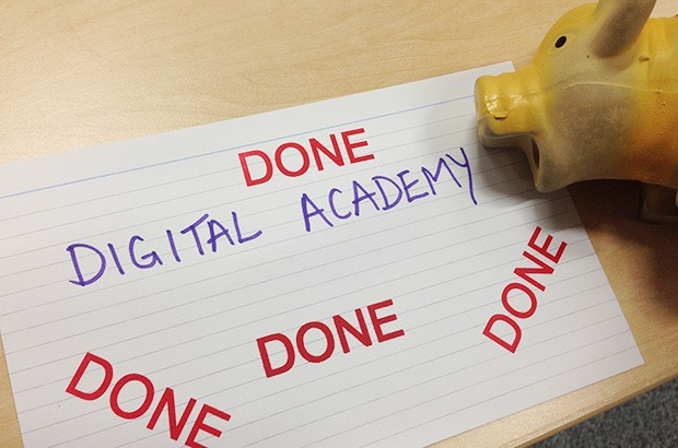 A piece of paper displaying the words 'Digital Academy Done'