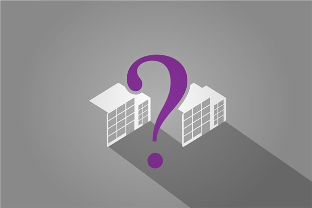 image of office building and a question mark