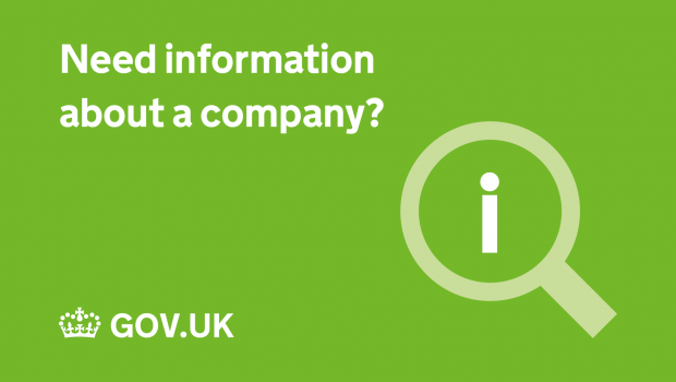 Need information about a company? With an 'i' in a magnifying glass and GOV.UK logo.