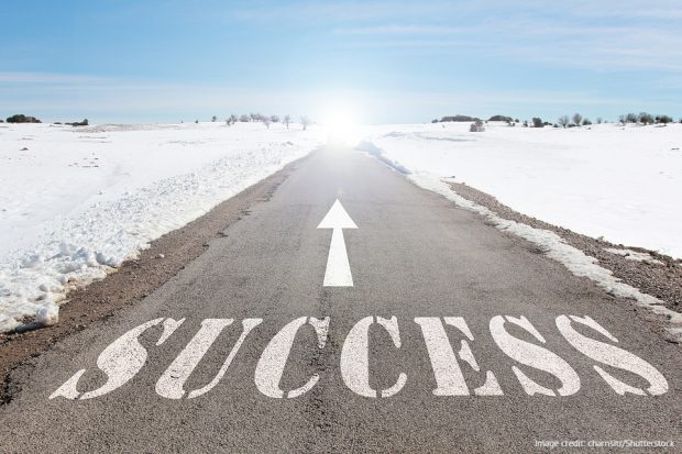 A road with the word 'Success' and an arrow.