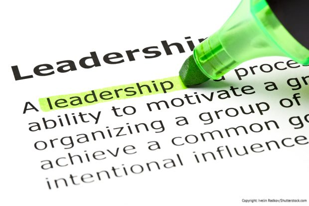 A green highlighter pen highlighting the word 'leadership'