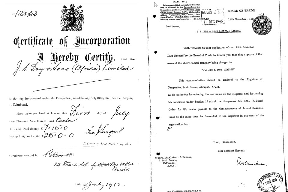 incorporation document for J S Fry and Son Ltd