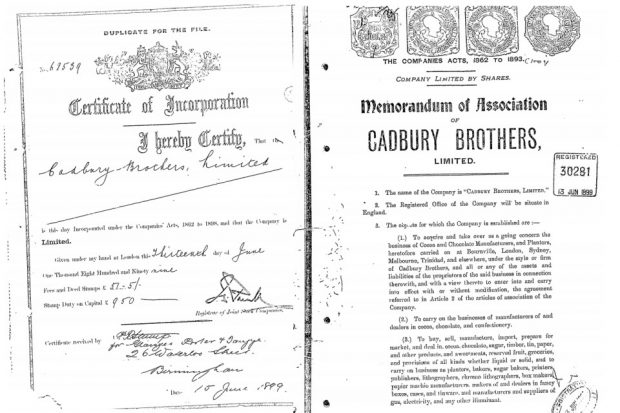 Cadbury brothers incorporation records