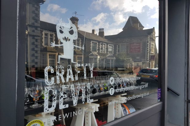 A picture of the front of the shop which displays 'Crafty Devil Brewery Co'