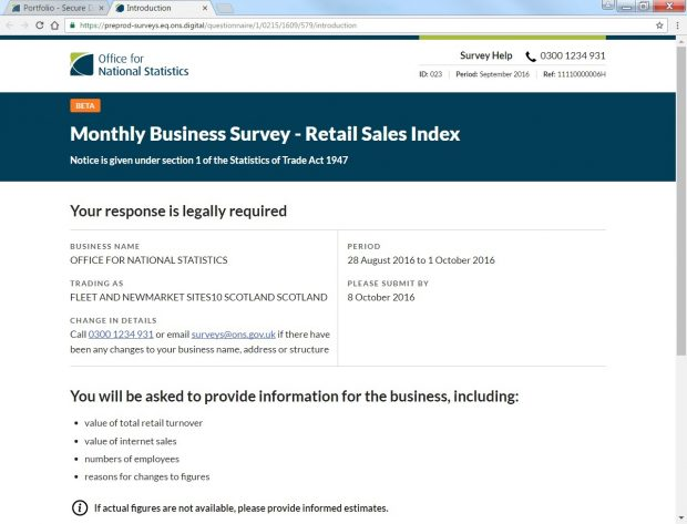 Screenshot of ONS Monthly Business survey