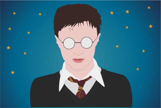 A computer drawing of Harry Potter