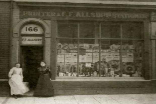Image of Allsopp Bookbinders's shop front in 1901