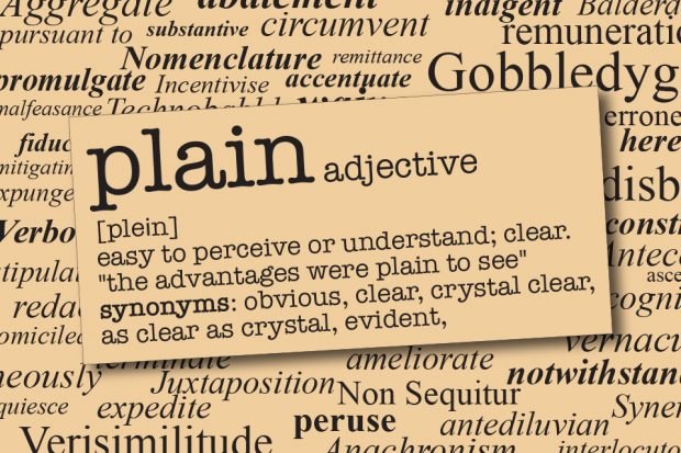 Plain dictionary definition image