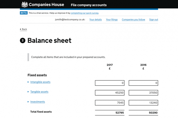 Screenshot of the prototype version of the 'File company accounts' service - the 'Balance sheet' page.