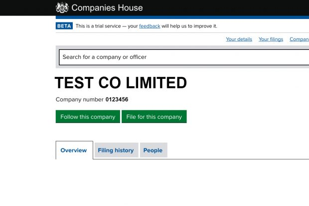 Screen shot of Follow on Companies House Service