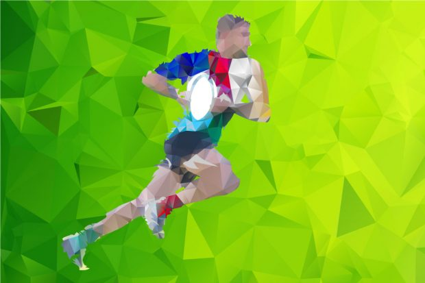 Image of rugby player running with ball.