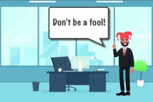 Cartoon office worker dressed as jester