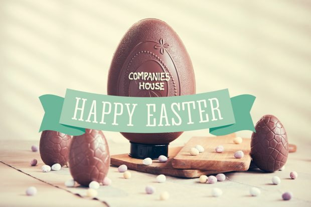 Easter egg with Companies House banner