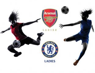 Image of 2 women kicking a football with Arsenal and Chelsea team crests.