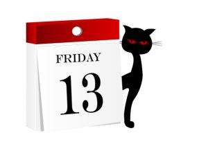 Image of calendar with Friday 13 and a black cat.