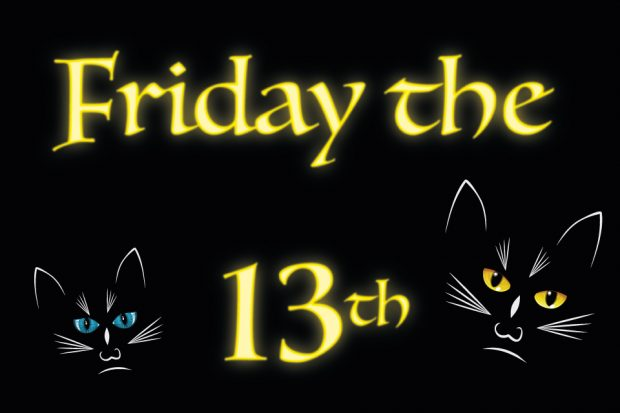 Friday the 13th title with black cats.