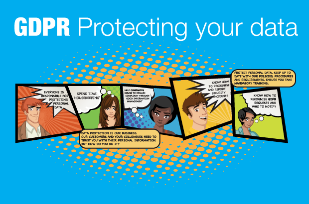 GDPR protecting your data title with cartoon customer profiles.