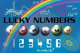 Lucky numbers title with different colour lottery balls.