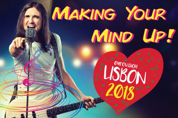 Making your mind up title with singer holding guitar and Eurovision logo.
