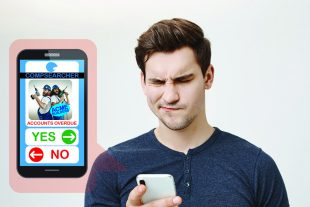 A man looking at a company dating app with a puzzled expression.