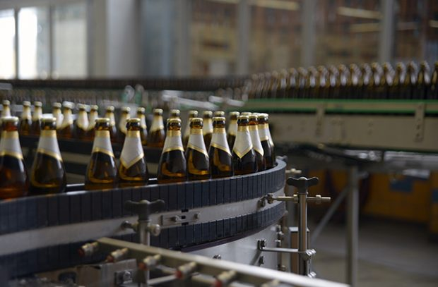 Bottles on a brewery production line.