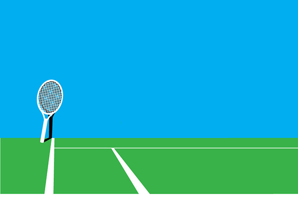 Graphic of tennis court and racket.