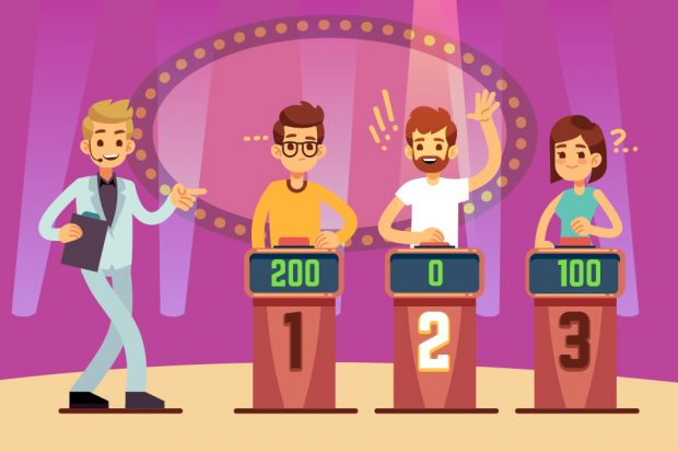 Cartoon image of game show contestants.