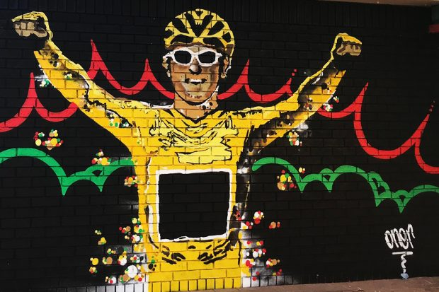 Mural of Geraint Thomas at Maindy Centre.