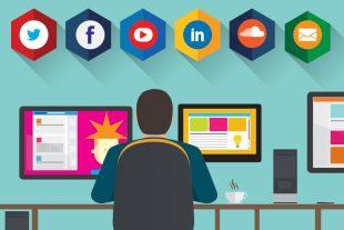 Graphic of man at desk with social media symbols.