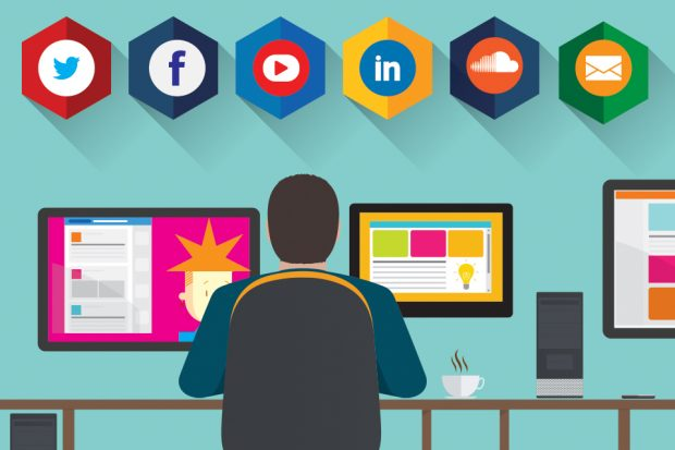 Graphic of man at desk with social media symbols.