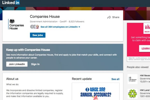 Screenshot of Companies House LinkedIn page.