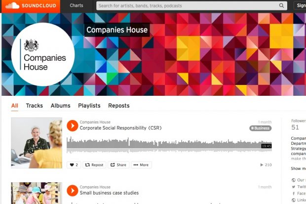 Screenshot of Companies House SoundCloud page.