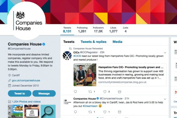 Screenshot of Companies House Twitter page.
