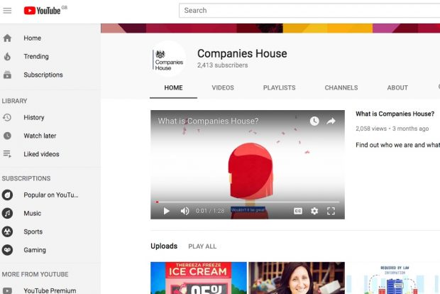 Screenshot of Companies House YouTube page.