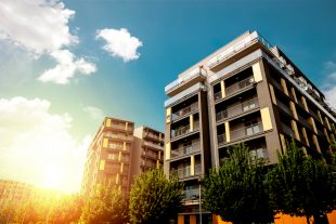 Modern apartment buildings exteriors on a sunny day