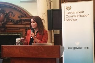 Intern Jennisa Del Mundo speaking at the GCS closing ceremony in Whitehall.