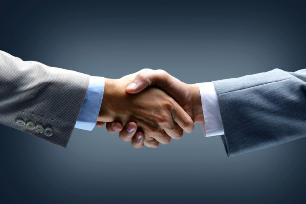 A business handshake.