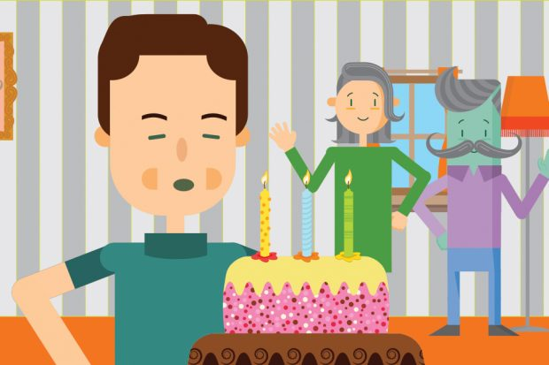 Cartoon of a man blowing out candles on a cake.