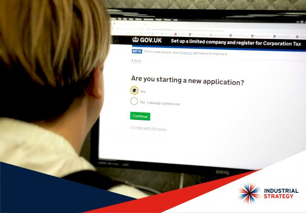 A woman looking at a the set up a limited company and register for corporation tax screen.