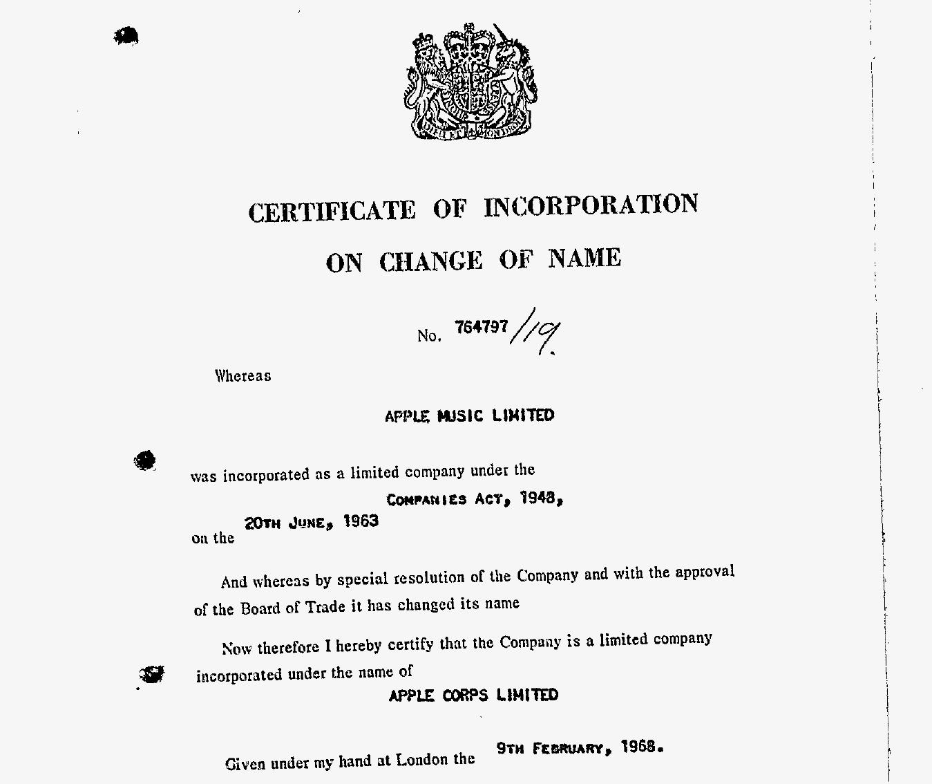 Uk Company: Beatles Change Of Name Certificate.