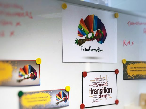 Our transformation logo and ideas on a white board.