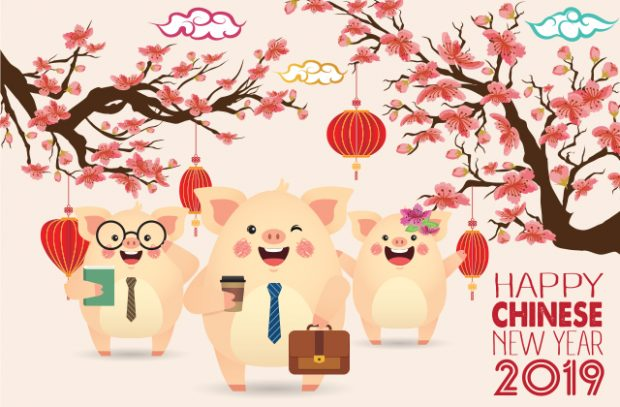 A graphic of 3 pigs in business outfits against a Chinese style background.