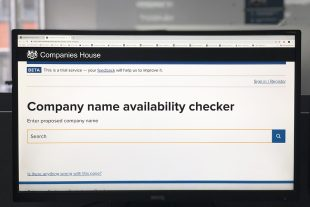 A computer screen displaying the company name availability checker.