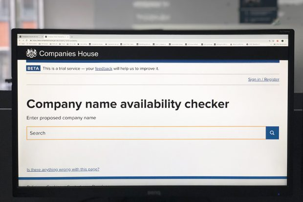 A computer screen displaying the company name availability checker.  Choosing a company name, trading name or trade mark Names 1 620x413