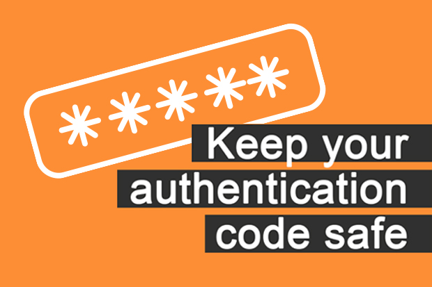 An illustration of asterisks representing a password and the message 'Keep your authentication code safe'