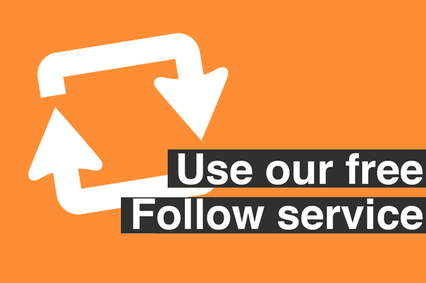 An illustration of arrows in a circle with the message 'Use our Follow service'.