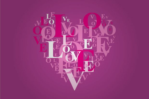 A heart symbol made up from the letters in the word 'love' on a purple background.