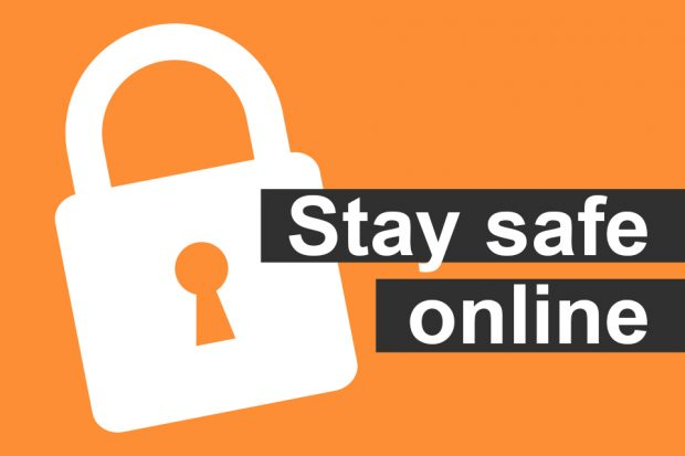illustration of a padlock with the message 'Stay safe online'