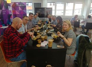 Companies House communications team eating pies.